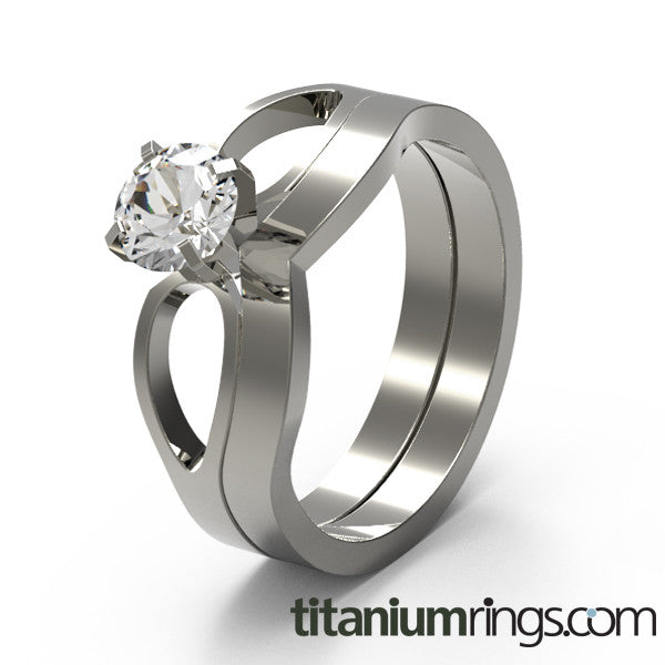 To Infinity Solitaire Gem-none-Titanium Rings