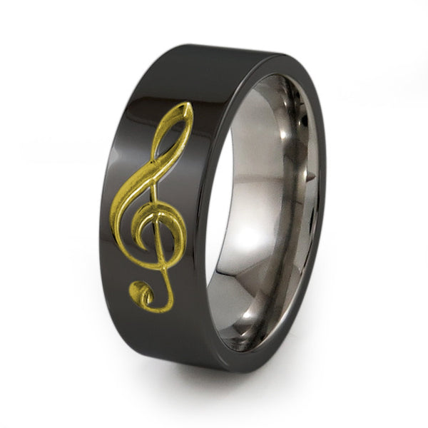 Treble Clef Music Ring.  Titanium Ring for music lovers. Titanium Ring with Colour accent.