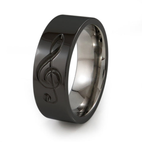 Treble Clef Titanium Music Ring - Black Titanium