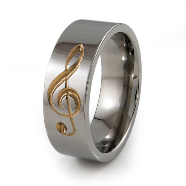 Treble Clef Music Ring.  Titanium Ring for music loveres.