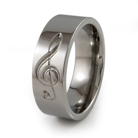 Treble Clef Titanium Music Ring
