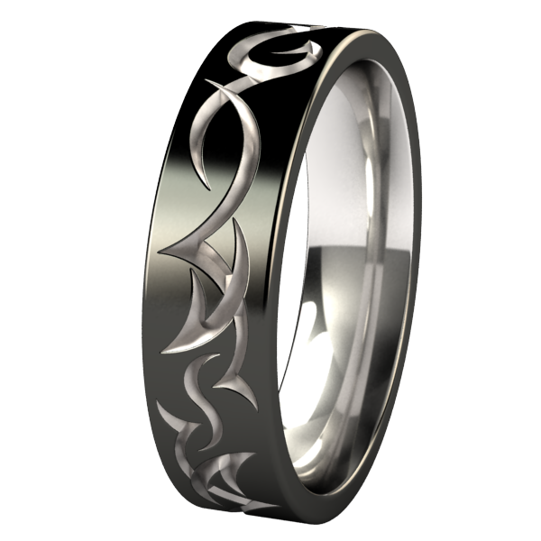 Tribe - Black Two Toned-none-Titanium Rings
