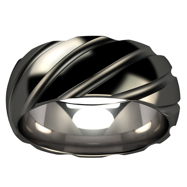 Twister - Black-none-Titanium Rings