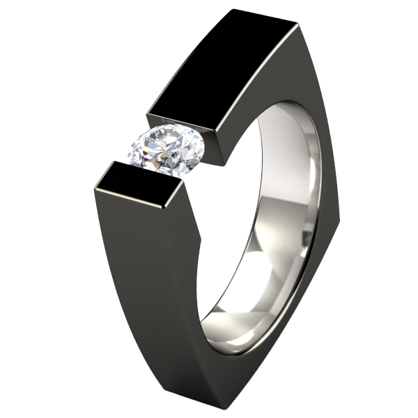 Ultima Round Solitaire - Black-none-Titanium Rings
