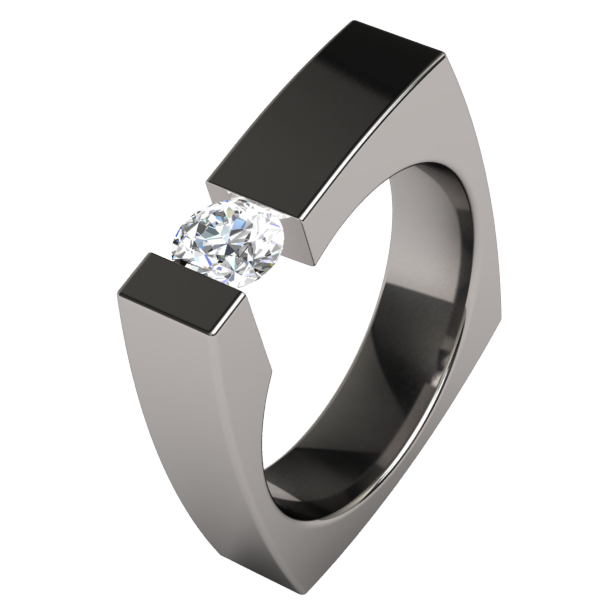 Ultima Round Solitaire-none-Titanium Rings