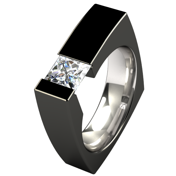 Ultima Square Solitaire Gem - Black-none-Titanium Rings