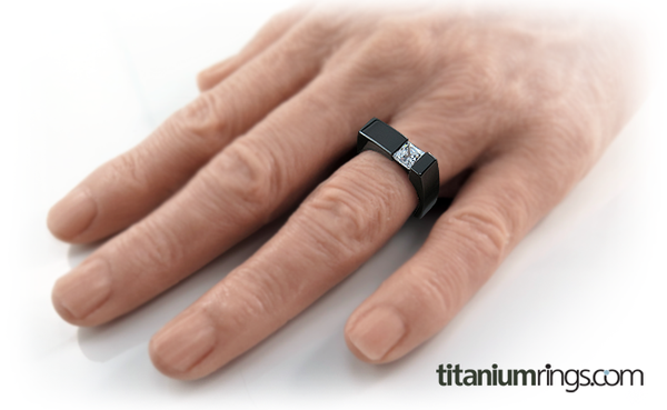 Ultima Square Diamond Solitaire - Black-none-Titanium Rings