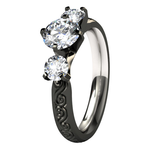 Victoria Diamond - Black-none-Titanium Rings