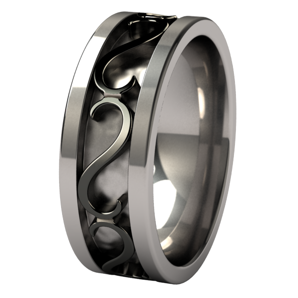 Vulcan Black 2tone-none-Titanium Rings