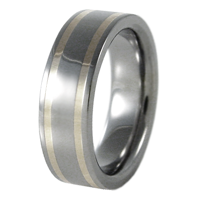 Abyss Double White Gold Inlay-none-Titanium Rings