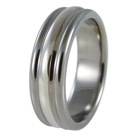 Beehive white Gold inlay-none-Titanium Rings