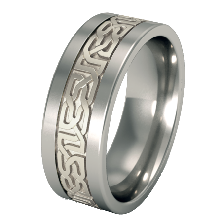 Camelot sculpted white Gold inlay-none-Titanium Rings