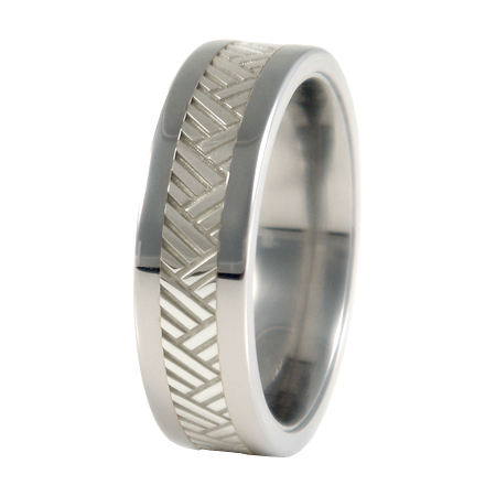 Chevrons sculpted white Gold inlay-none-Titanium Rings