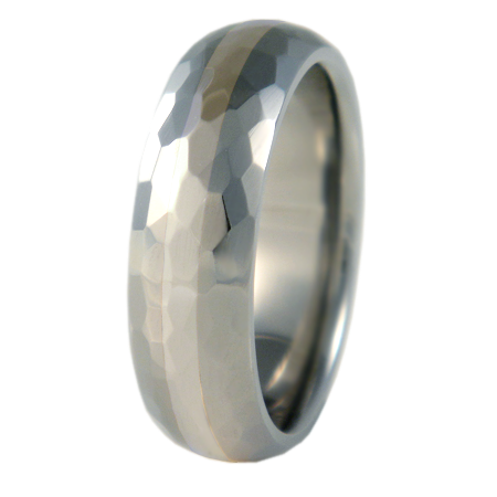 Crater White Gold Inlay-none-Titanium Rings