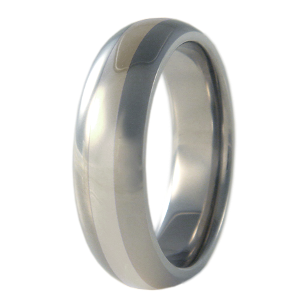 Eclipse White Gold Inlay-none-Titanium Rings