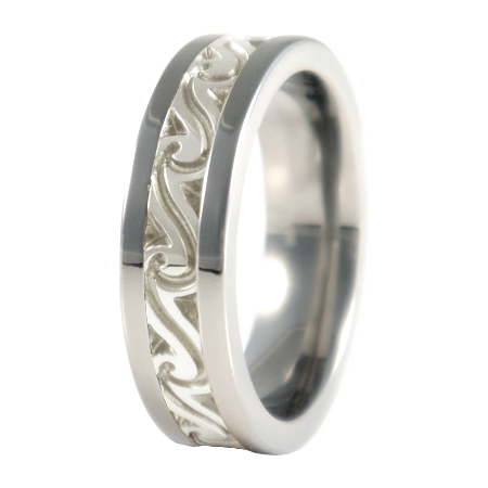 Firenze sculpted white Gold inlay-none-Titanium Rings