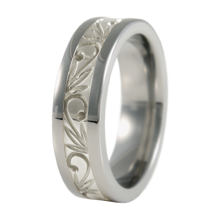 Flora sculpted white Gold inlay-none-Titanium Rings