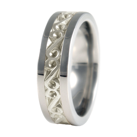 Legend sculpted white Gold inlay-none-Titanium Rings