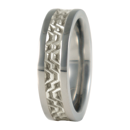 Lhassa sculpted white Gold inlay-none-Titanium Rings