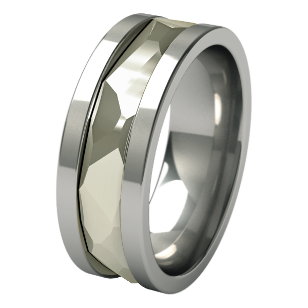 Nugget sculpted White Gold inlay-none-Titanium Rings