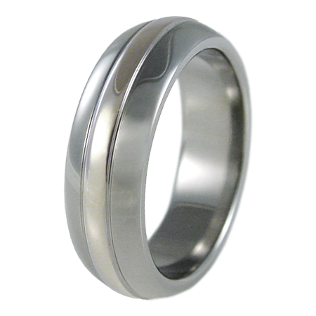 Osmosis white Gold inlay-none-Titanium Rings