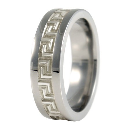 Pegasus sculpted white Gold inlay-none-Titanium Rings