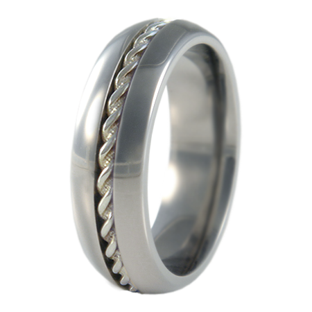 Spiral white Gold inlay-none-Titanium Rings
