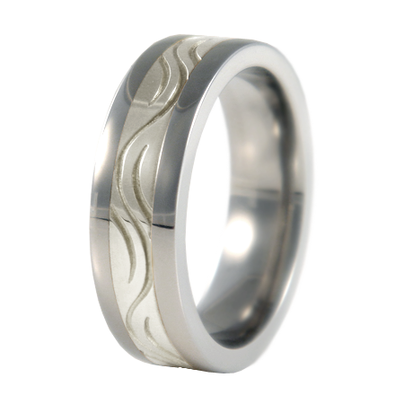 Stream sculpted white Gold inlay-none-Titanium Rings