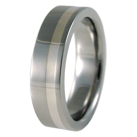 Wasabi White Gold Inlay-none-Titanium Rings