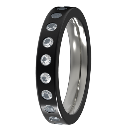 Custom Eternity Inset with 21 x 2mm diamonds-none-Titanium Rings