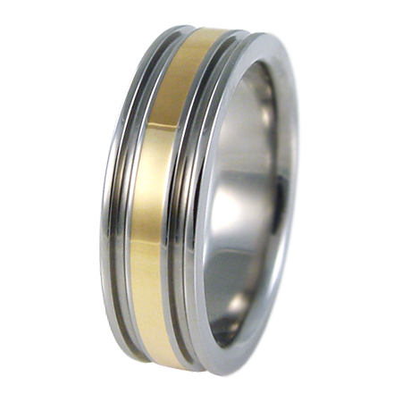 Abyss Single Yellow Gold Inlay-none-Titanium Rings
