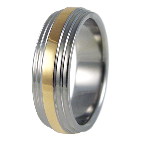 Aztec yellow Gold inlay-none-Titanium Rings