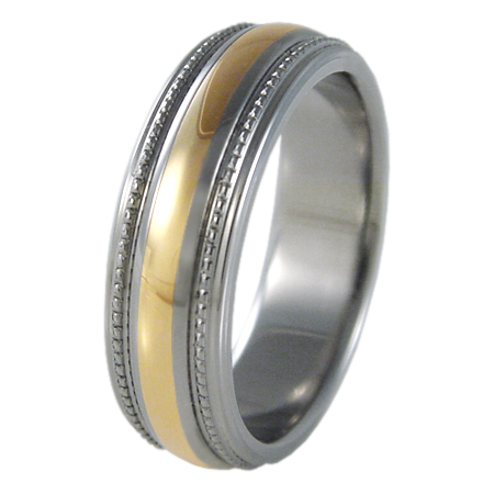 Crescent Yellow Gold Inlay-none-Titanium Rings