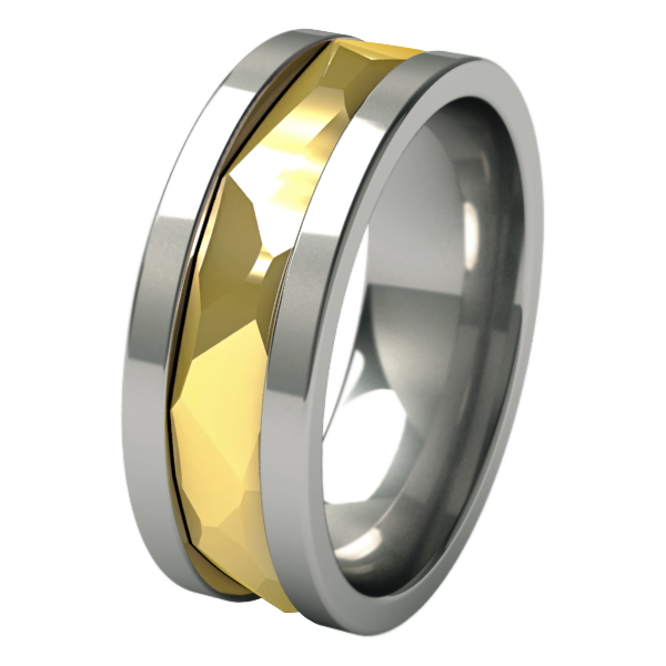 Nugget sculpted Yellow Gold inlay-none-Titanium Rings