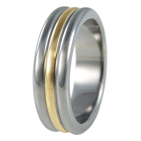 Orion yellow Gold inlay-none-Titanium Rings