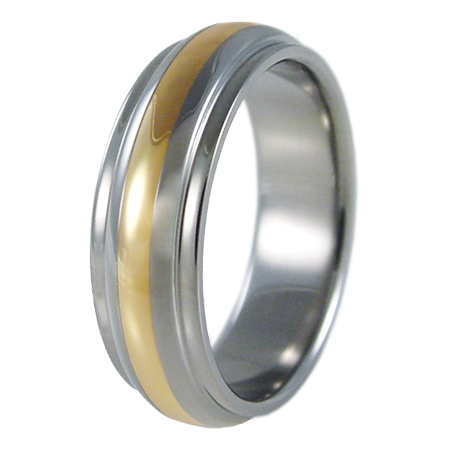 Partial Eclipse yellow Gold inlay-none-Titanium Rings