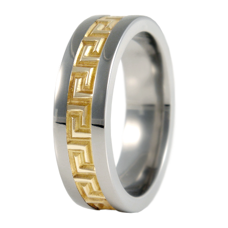 Pegasus sculpted Gold inlay-none-Titanium Rings