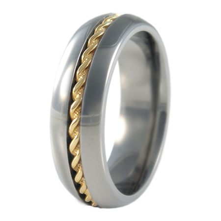 Spiral yellow Gold inlay-none-Titanium Rings