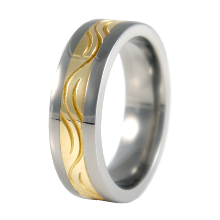 Stream sculpted Gold inlay-none-Titanium Rings
