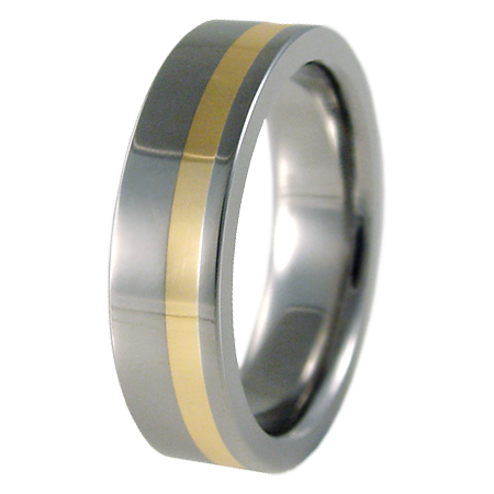 Wasabi Yellow Gold Inlay-none-Titanium Rings