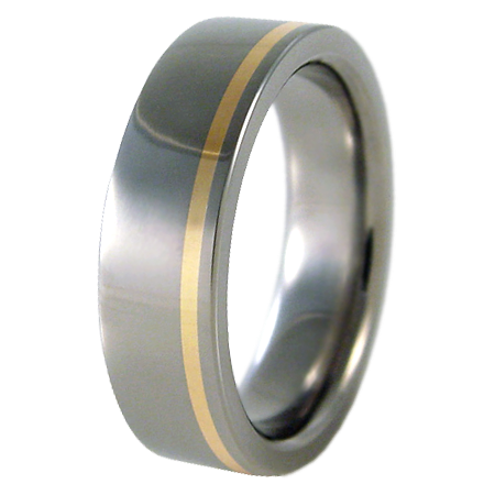Zuzu yellow Gold inlay-none-Titanium Rings