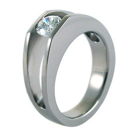 Ysatis - Custom rounded bottom with customers own stone.-none-Titanium Rings