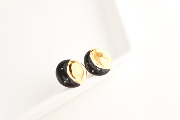 Black and Gold Crescent Moon Stud Earrings