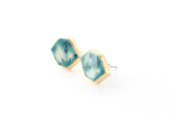 Gold Edged Gem Earrings