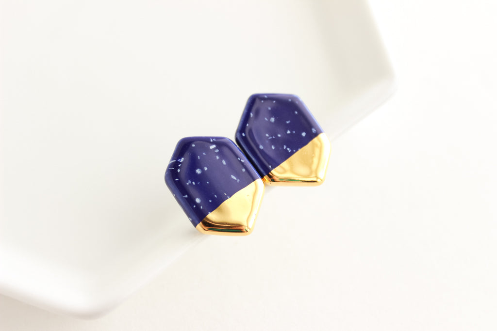 Cobalt Speckle Gold Dipped Gem Earrings