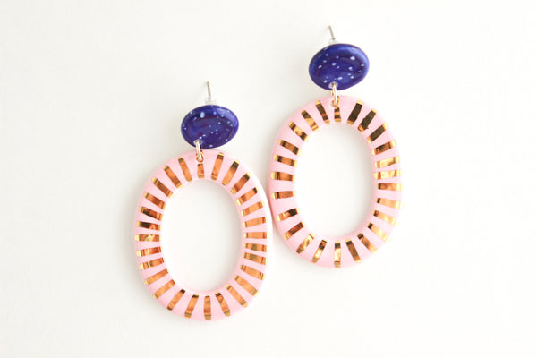 Cobalt/Pink Sunburst Big Oval Cutout Statement Earrings