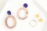 NEW! Cobalt/Pink Sunburst Big Oval Cutout Statement Earrings
