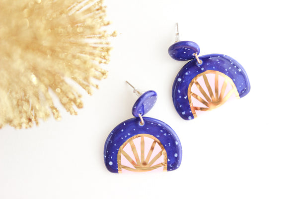 Cobalt Speckle and Pink Sunburst Half Circle Statement Earrings