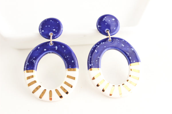 Cobalt Speckle Sunburst Oval Cutout Statement Earrings
