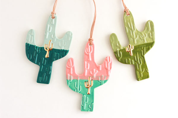 NEW! Colorblock Gold Cactus Ornament